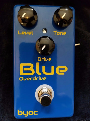 BYOC Blue Overdrive Pedal w/Fat Mod New Blue Powder Coat Silkscreened ASSEMBLED