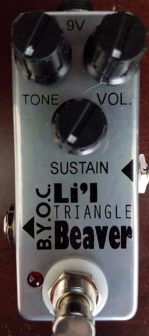 BYOC Lil Beaver Triangle Version Fuzz Pedal New ASSEMBLED Silver Powder Coat