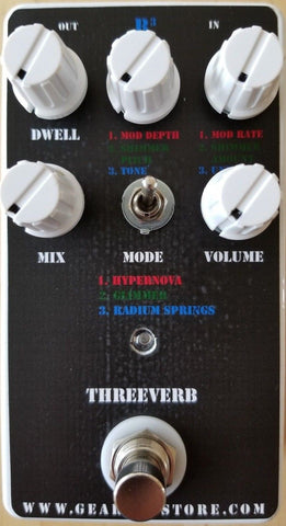 Geargas Custom Shop ThreeVerb Hypernova, Glimmer and Radium Springs Reverb Pedal