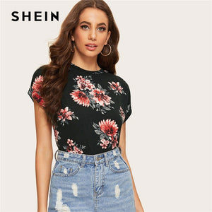 2331fcf6a9 SHEIN Lady Black Roll Up Sleeve Flower Print Cap Sleeve Tee Top Women  Summer Round Neck Casual Slim Fit Curve Hem T-shirts