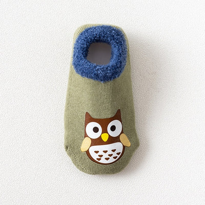 Cotton Baby Boys Girls Socks Rubber Slip-resistant Floor Socks Cartoon Infant Kids Animal Socks Winter Autumn Thicken Warm Shoes