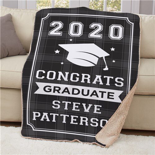 Personalized Congrats Graduate Sherpa Blanket