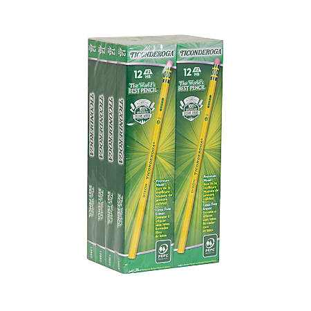 Ticonderoga Pencils, Wood Graphite Pencils #2 Soft -  Yellow, 12-Pack
