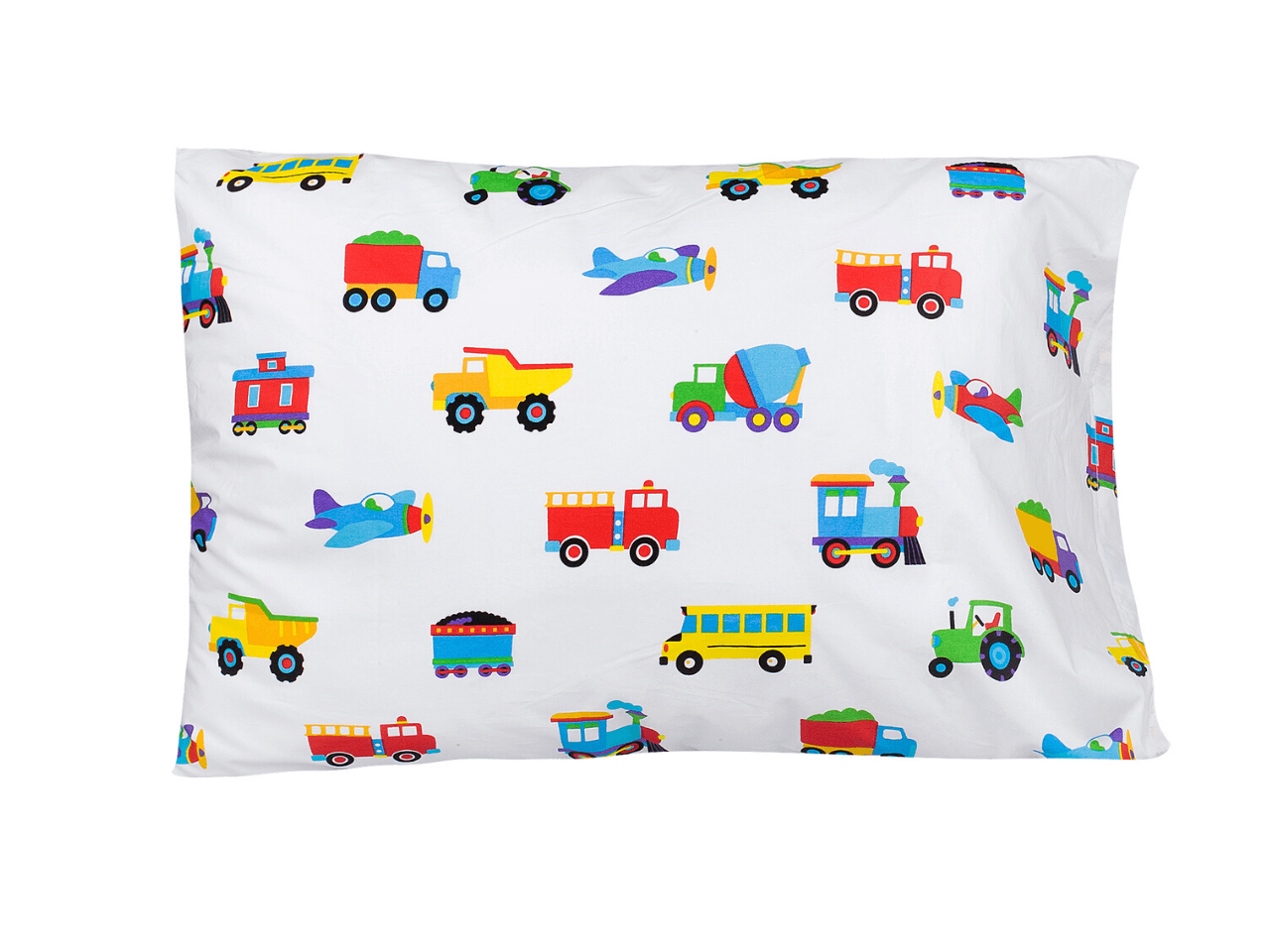 100% Cotton Pillow Cases - Trains, Planes & Trucks
