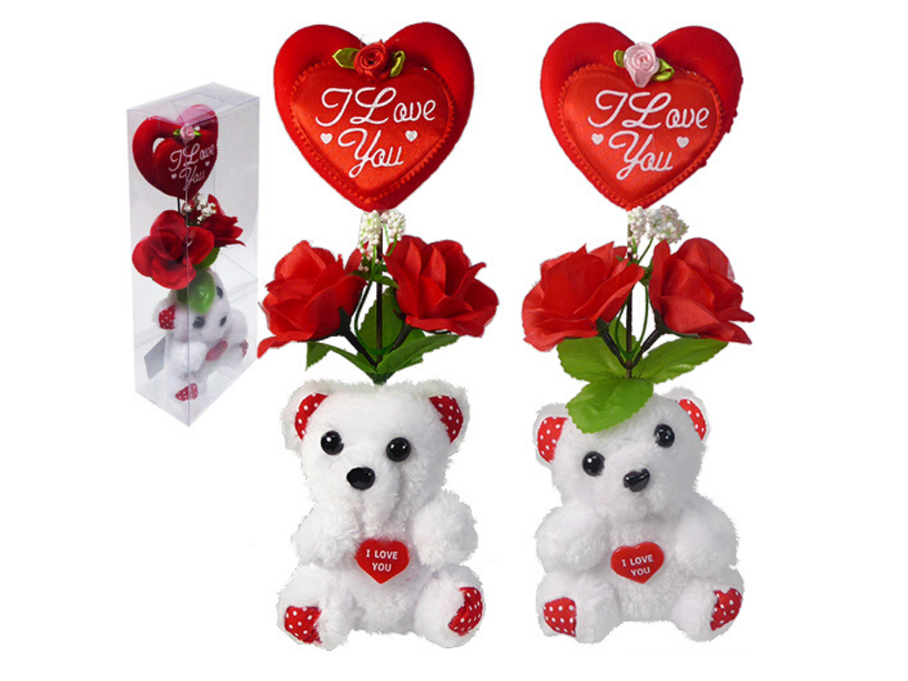 "Plush ""I Love You"" Bears w/ Heart & Silk Roses"