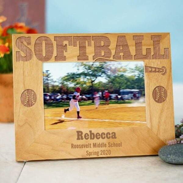 Bliss EDU Engraved Softball Wood Picture Frame