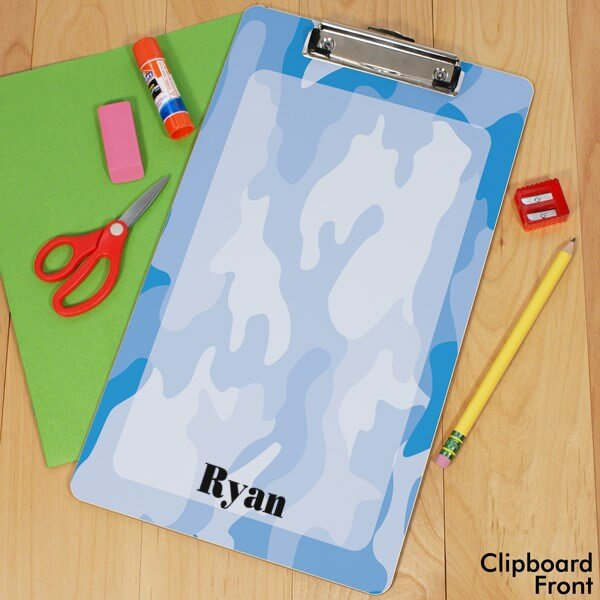 Personalized Blue Camo Clipboard