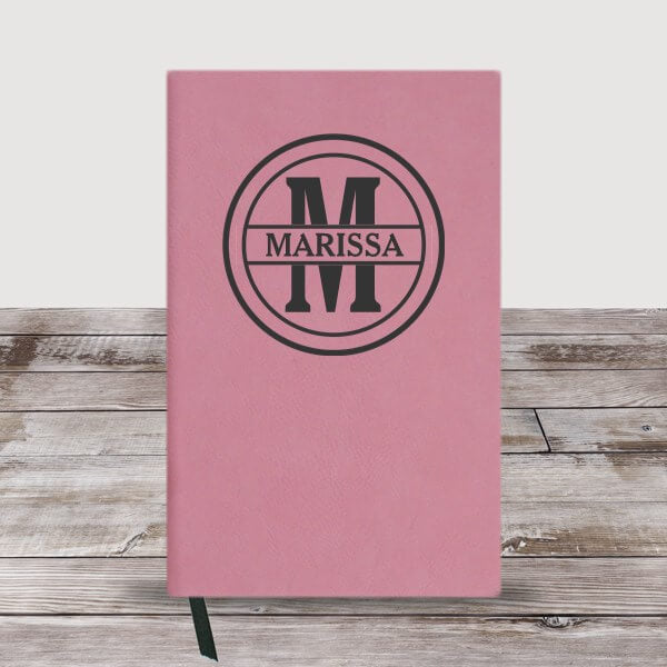 Personalized Circle Monogram Initial And Name Leather Journal