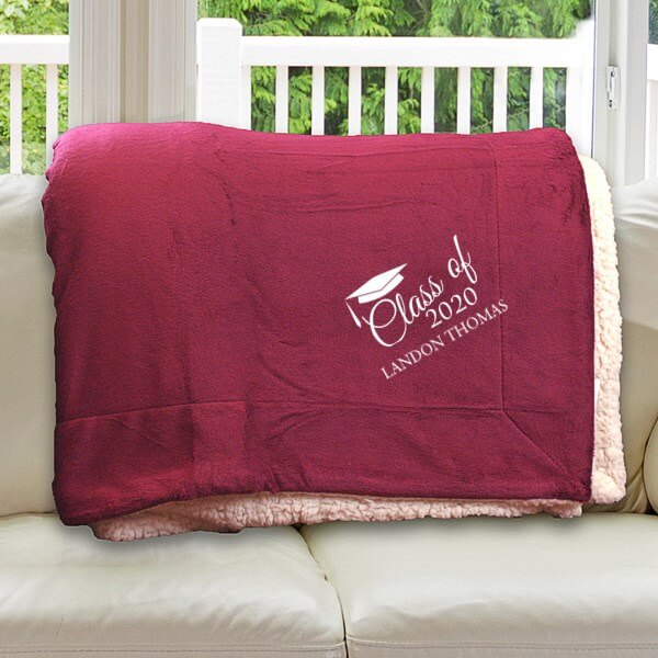 "Embroidered Class Of Sherpa Blanket - 50"" x 60"""