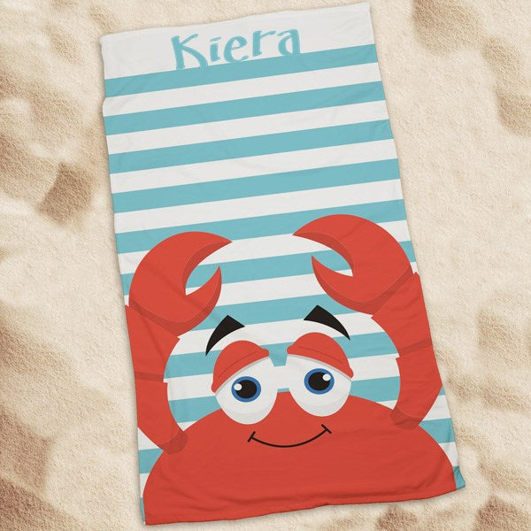 Personalized Crab Beach Towel