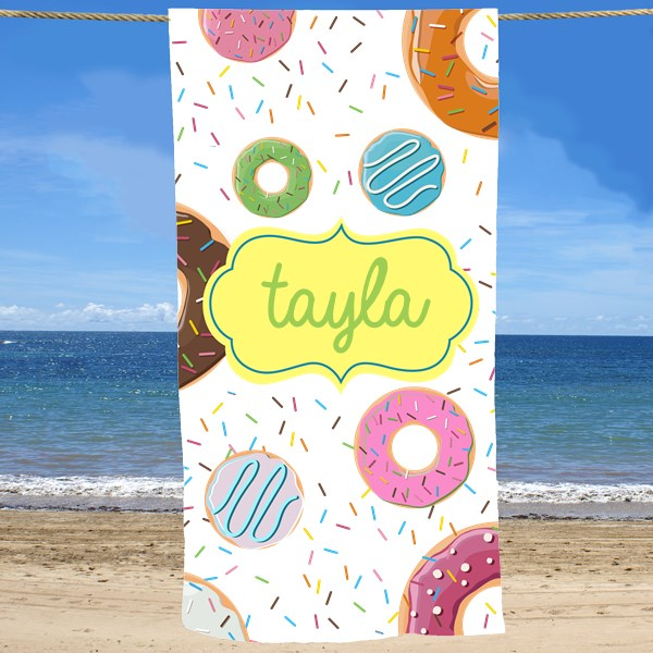Bliss EDU Personalized Donuts Beach Towel
