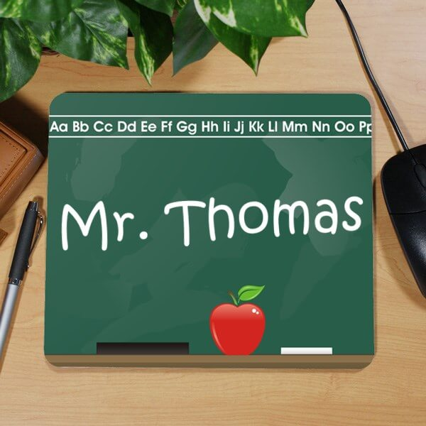 Personalized Teacher Mouse Pad with Chalkboard Design