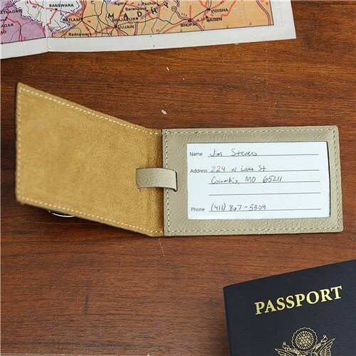 Engraved Leather Luggage Tag - And So The Adventure Begins