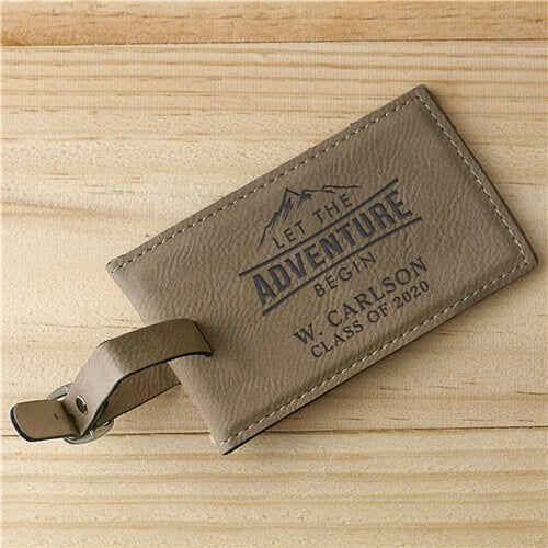 Personalized Let The Adventure Begin Leather Tag