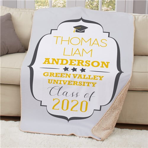 Personalized Any Name Graduation Sherpa Throw