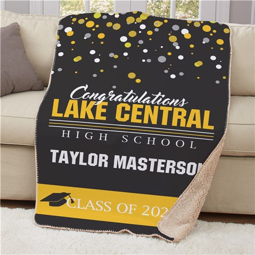 "Personalized Congratulations Class Sherpa Throw - 50"" x 60"""