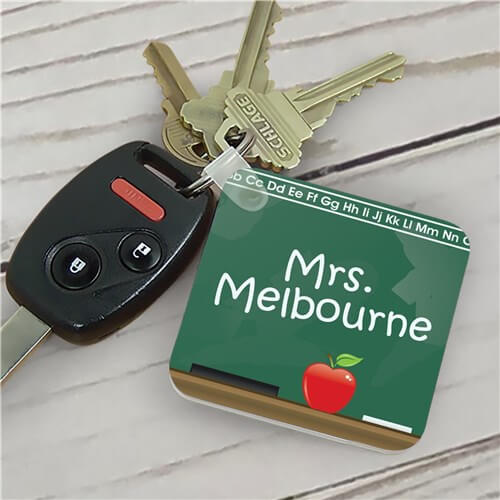 Personalized Teacher Key Chain Chalkboard Design
