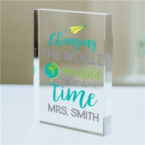 Personalized Changing The World Acrylic Keepsake