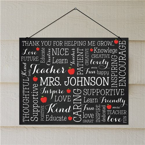 Personalized Teacher Word Art Wall Sign