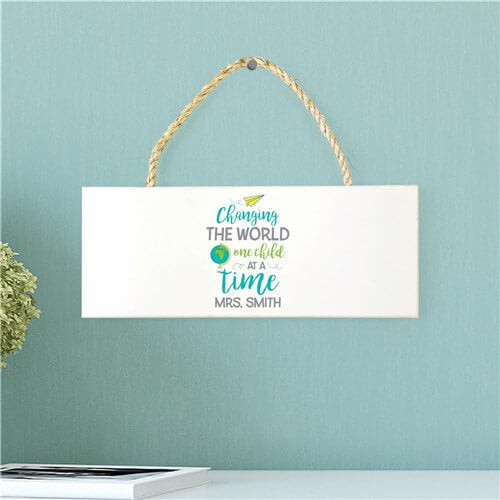 Personalized Changing The World Rope Hanging Sign