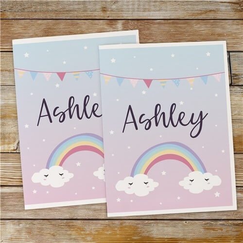 Personalized Rainbow With Pennant Banner Folder Set