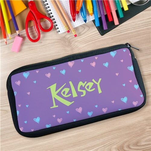 Personalized All Hearts Custom Printed Pencil Case
