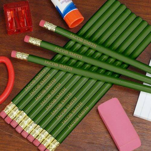 Personalized Engraved Green School Pencils