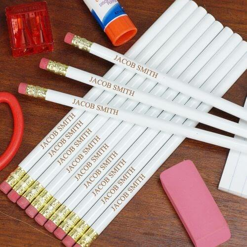 Personalized Engraved White School Pencils