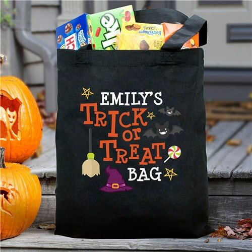 Personalized Trick Or Treat Hat Tote Bag