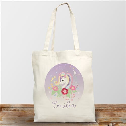 Personalized Unicorn Tote Bag