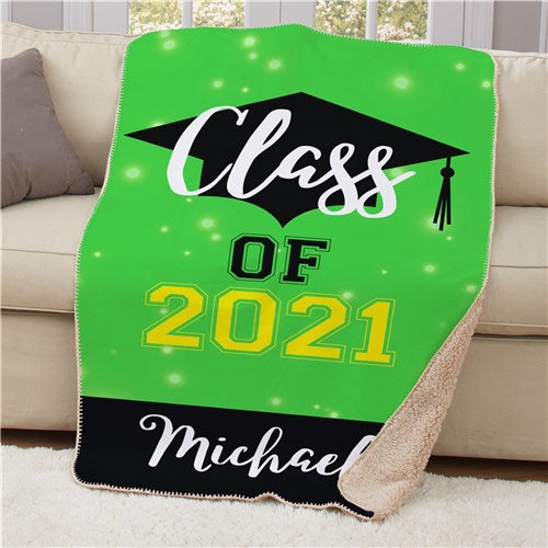 Personalized Class of With Grad Hat Sherpa Throw