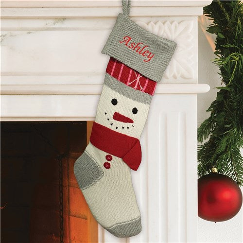Embroidered Knit Snowman Stocking - Bliss EDU