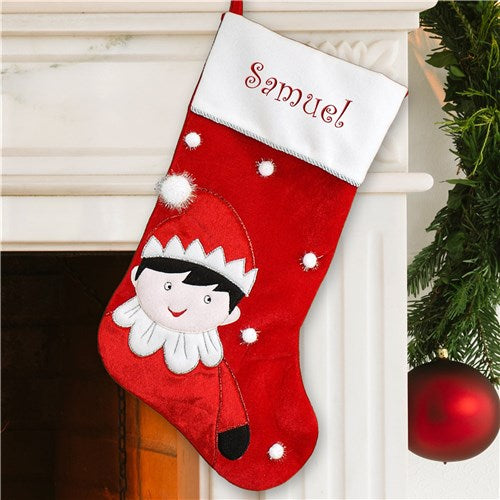 Personalized Elf Embroidered Name Stocking