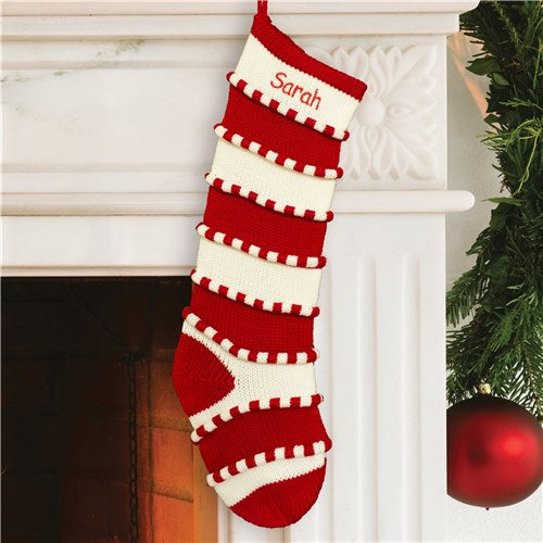 Embroidered Red Striped Stocking