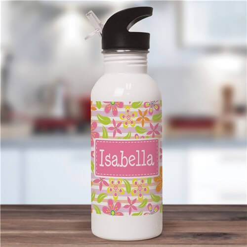 Bliss EDU Personalized Floral Pattern Water Bottle
