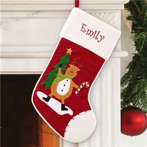 Personalized Reindeer with Candy Cane Christmas Stocking