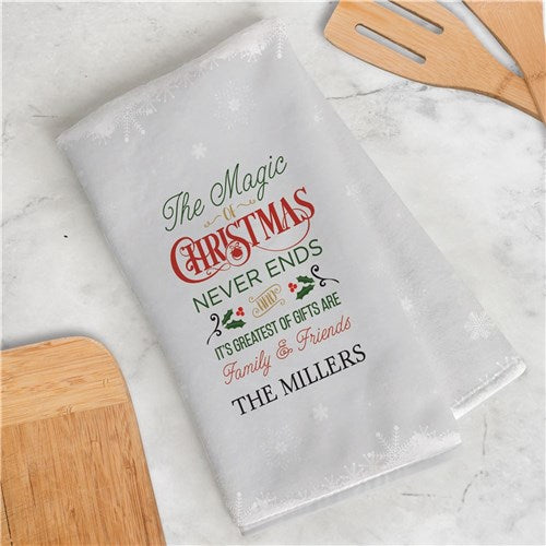 Personalized The Magic Of Christmas Dish Towel