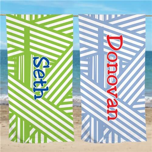 Personalized Stripes Beach Towel