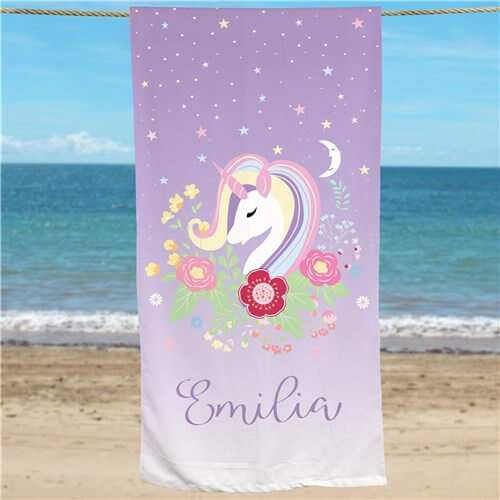 Bliss EDU Personalized Unicorn Beach Towel