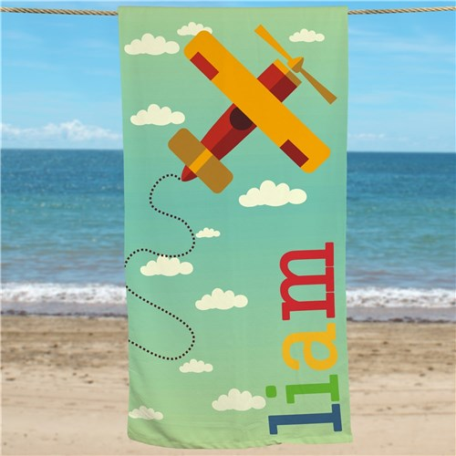 Bliss EDU Personalized Airplane Beach Towel