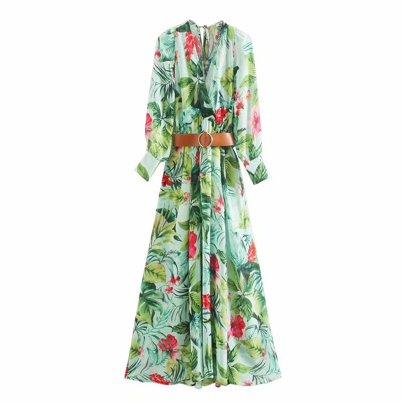 Karen Floral Green Dress