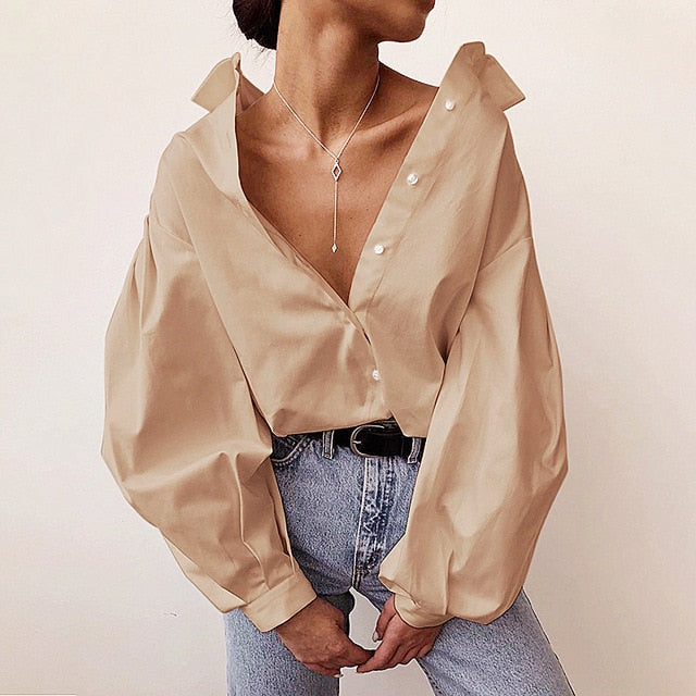 Mavis Lantern Long Sleeve Button Down Shirt Blouse
