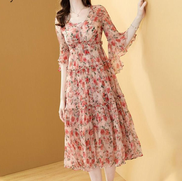 Ada Floral Chiffon Dress