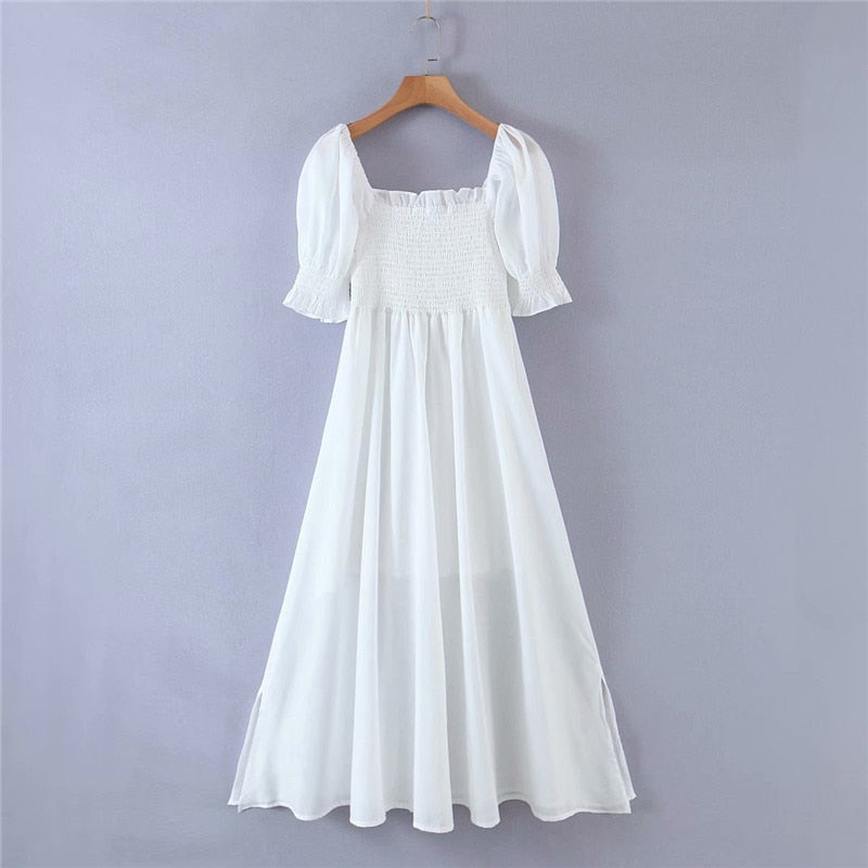 Olivia White Puff Sleeve Smocked Dress