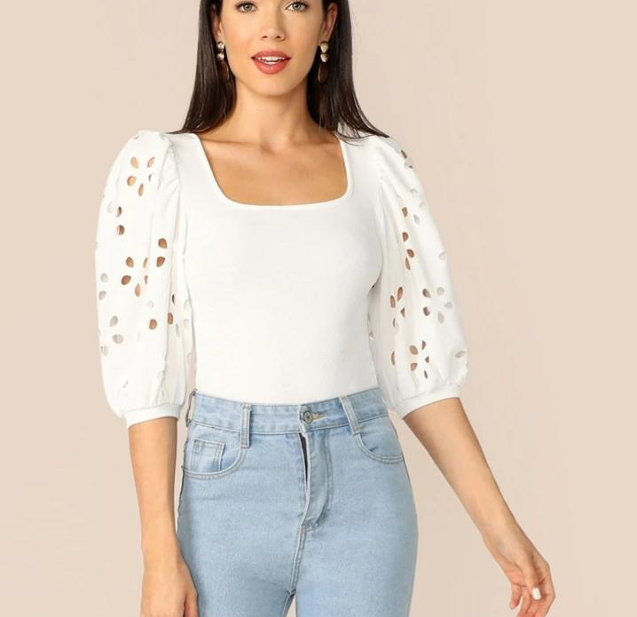 Anna Elegant Laser Cut Sleeve Fitted Top