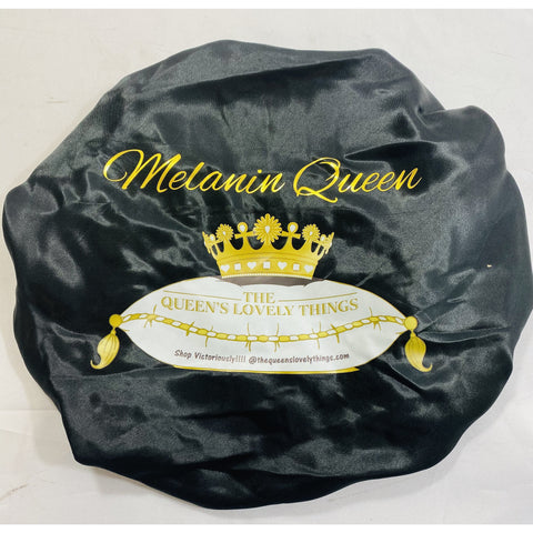 Melanin Queen Logo Satin Bonnet Black