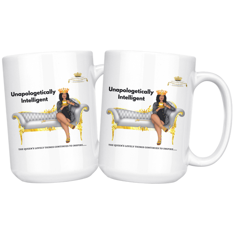 Queen's Collection White Coffee Tea Mug Unapologetically Intelligent