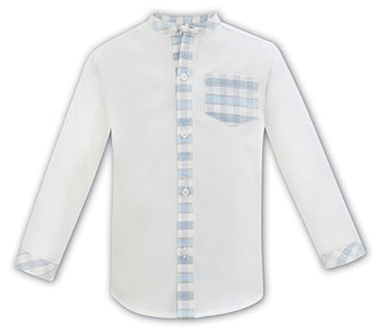 Sarah Louise Check Shirt Blue 011332