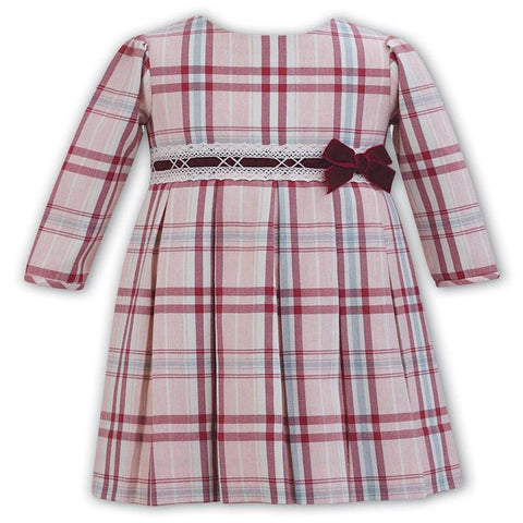 Sarah Louise Long Sleeve Pink Check Dress