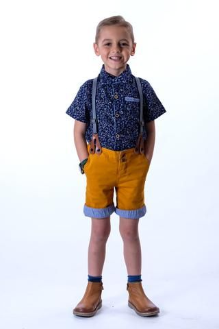TOBY: OCHRE SHORTS AND BRACES